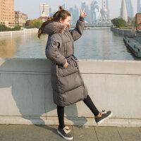 新款羽绒女款中长款韩版过膝韩国面包服宽松女士棉袄外套 灰色