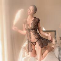 透明蕾丝性感睡衣女夏吊带睡裙两件套镂空开叉骚诱惑火辣 黑色 2件套 均码