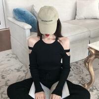 28秋冬新款韩版时尚性感气质小心机镂空露肩长袖打底针织衫女潮 黑色 均码
