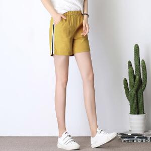 新款韩版棉麻松紧腰侧边条纹休闲亚麻运动短裤女夏宽松