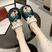 波西米亚度假平底温柔两穿拖鞋配长裙穿的仙女风凉拖鞋女