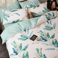 家纺风全棉床上用品四件套简约北欧纯棉4三件套床单被套床笠夏
