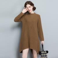 厂家直销秋冬新品女士针织休闲下摆宽松纯色羊毛衫打底衫