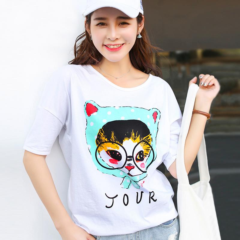 夏季新品韩版宽松百搭棉中袖五分袖T恤女装猫头鹰印花小衫