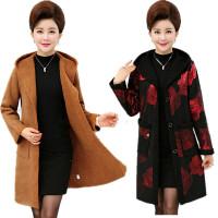 妈妈装秋冬外套大码中年女40-50岁上衣中老年女装鹿皮绒毛呢风衣