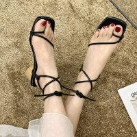 户外女士凉鞋性感气质中跟鞋时尚百搭女鞋配裙子的鞋