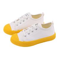 女童帆布鞋一�_�和�布鞋春秋板鞋男童小白鞋