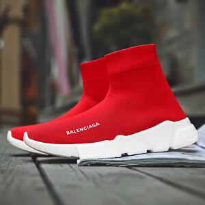 袜子鞋女2017冬季新款高帮韩版厚底学生针织弹力男运动加绒情侣鞋