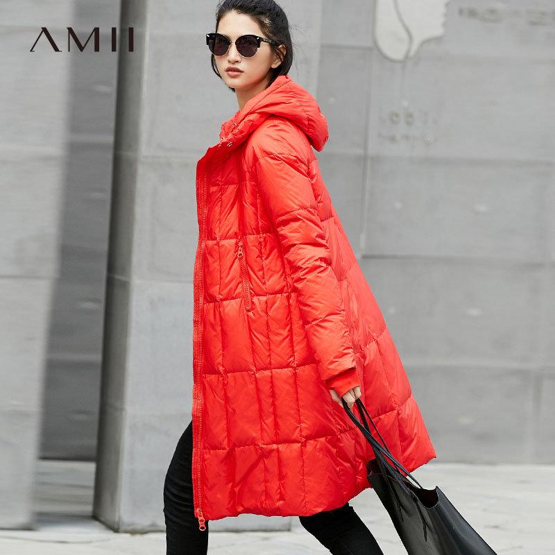 【品牌团 1件7折/2件5折】Amii[极简主义]休闲 90白鸭绒羽绒服女 2017冬新连帽拉链保暖外套