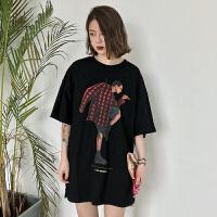 春夏女装韩版原宿风宽松中长款个性印花五分袖T恤短袖打底衫上衣