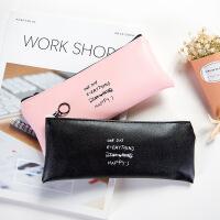 韩国简约纯色个性皮质笔袋 学生创意拉链文具袋铅笔袋 盒装