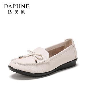 【达芙妮集团大促 限时2件2折】Daphne/达芙妮 旗下女鞋春季时尚圆头单鞋深口蝴蝶结套脚女单鞋
