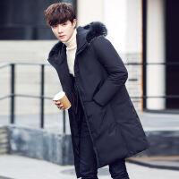 冬装新款羽绒服男士中长款韩版连帽大毛领外套潮男青年加厚