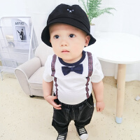 婴儿男童短袖T恤4-7-5个月女宝宝韩版潮款裤子夏装