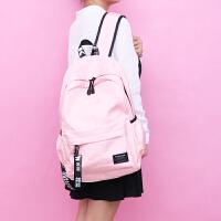 中学生书包女双肩包高中初中生日韩版纯色校园学院大容量电脑背包