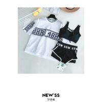 韩国泳衣女分体保守三件套运动学生小香风少女平角显瘦温泉游泳装
