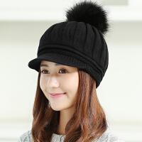 帽子女冬天�n版潮�r尚百搭��毛�帽甜美可�鄱�季青年��舌帽保暖