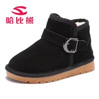 哈比熊童鞋女童靴子冬款保暖儿童雪地鞋冬季棉靴中筒靴子男童短靴GW253H9