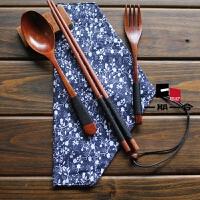 木质环保筷子便携木制餐具套装旅游木勺子5件套日式和风布袋