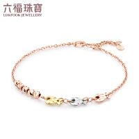 六福珠宝彩金手链女款气泡鱼三色18K玫瑰金手链*定价 L18TBKB0046C