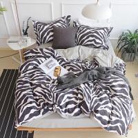 酷酷的斑马纹 四件套纯棉床上用品全棉宿舍三件套床笠床单被套