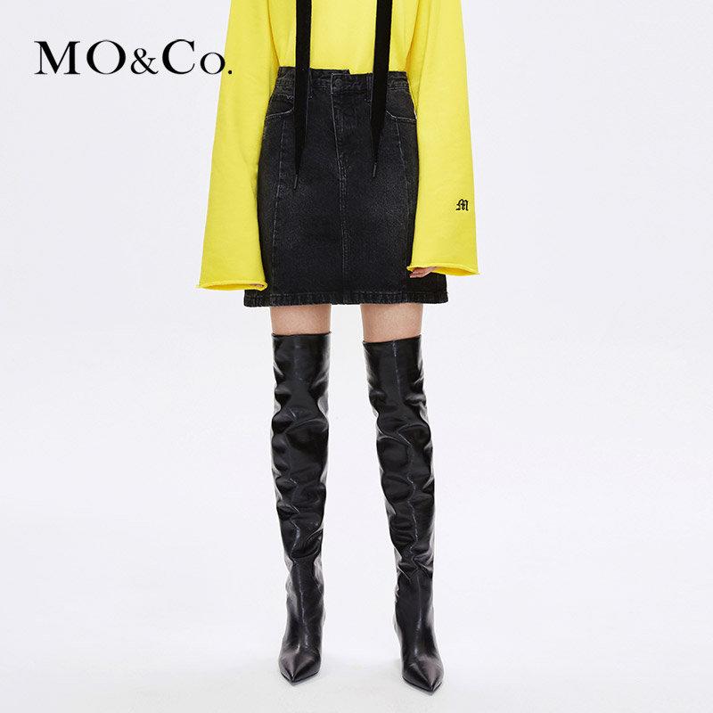MOCO冬季新品街头直筒牛仔半身裙MA184SKT401 摩安珂 满399包邮 做旧洗水 直筒廓形