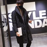 冬季棉衣男中长款修身男士韩版修身帅气潮流休闲外套男 黑色