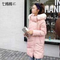 羽绒服中长款女2017秋冬季装新款韩版学生仿羊羔毛连帽毛领外套厚