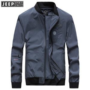 JEEP吉普夹克男时尚休闲棒球领飞行服户外防风薄款立领茄克外套