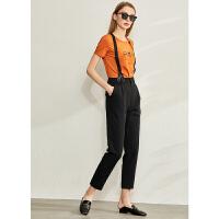 【到手价:154元】Amii极简个性可拆式背带西装裤2020春季新款西裤直筒九分烟管裤女