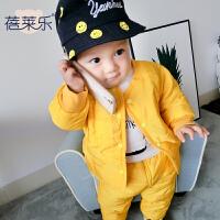 婴儿衣服秋装女童外套装3个月男宝宝加厚保暖冬装
