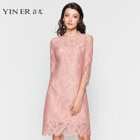 YINER音儿 2017秋季新款 时尚旗袍设计蕾丝镂空连衣裙8C57305780