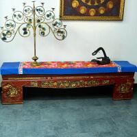 中式古典家居布艺 孔雀牡丹灯芯绒 桌旗桌布床旗柜旗 桌布桌旗
