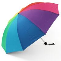 天堂伞33395e七彩世界加大加固双人伞黑胶遮阳伞折叠防晒伞彩虹伞