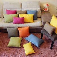 现代简约抱枕办公室方形枕头客厅沙发纯色棉麻抱枕套靠垫定制图片