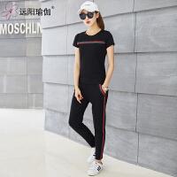 春夏时尚新品休闲套装健身服运动短袖卫衣套装女 Y7XW26Y2-08黑色