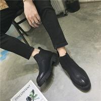 秋冬季男靴子韩版潮流休闲高帮鞋皮靴英伦短靴马丁靴男士切尔西靴 黑色 181-1