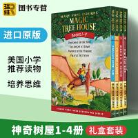 神奇树屋1-4册盒装 Magic Tree House 英文原版英语章节桥梁书 英文版 玛丽波奥斯本 正版进口英语书籍