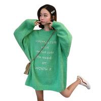 秋冬韩版中长款慵懒风宽松字母网红套头超火针织衫毛衣上衣外套女 均码