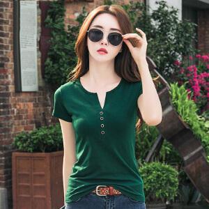 棉质上衣女夏装新款韩版潮女装V领体恤纯色显瘦女士短袖t恤