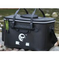 加厚EVA钓鱼水桶折叠钓鱼桶带透气网钓鱼箱活鱼桶养鱼箱渔具用品