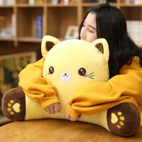 猫咪靠枕护腰靠垫办公室学生卡通椅子腰靠午睡抱枕靠背垫沙发