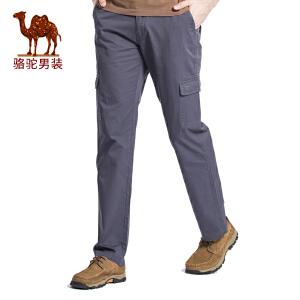骆驼男装 春夏季新款男士裤子纯棉宽松运动工装休闲裤纯色长裤