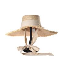 范智乔晚晚同款绑带拉菲草帽女防晒大檐草帽海边度假遮阳帽 可调节