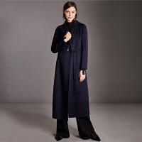 【到手价:700元】Amii极简英伦时尚羊毛双面呢毛呢外套女2018冬新腰带西装大衣