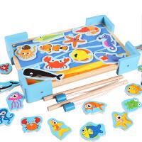 儿童小猫磁性钓鱼玩具10-11个月宝宝益智力玩具1-2-3岁 小猫磁性钓鱼