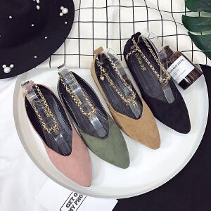 新款平跟尖头浅口绒面单鞋女金属链韩版低帮鞋女平底防滑女鞋
