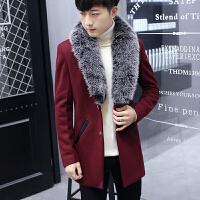 秋冬季韩版中长款风衣男修身加厚呢子大衣外套青年毛领衣服秋装潮