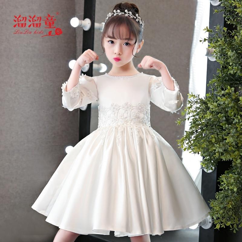 女童长袖蓬蓬裙花童晚礼服钢琴演出服2018新款儿童礼服白色公主裙
