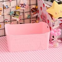 桌面收纳盒粉色浮雕塑料少女杂物收纳筐化妆品护肤办公文具整理盒 大号收纳筐 (浮雕)